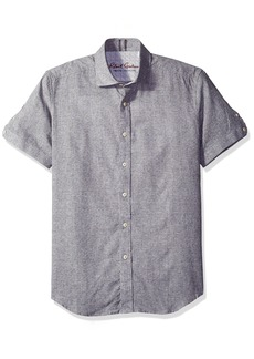 Robert Graham Men's Tailored Fit linen blend Short Sleeve Button Down Woven Sport Shirt