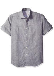 Robert Graham Men's Tailored Fit linen blend Short Sleeve Button Down Woven Sport Shirt