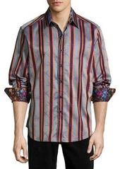 Robert Graham Ornaments Long-Sleeve Striped Sport Shirt