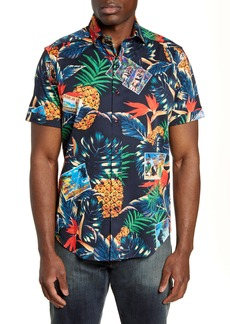 Robert Graham Postcards Regular Fit Tropical Short Sleeve Button-Up Sport Shirt