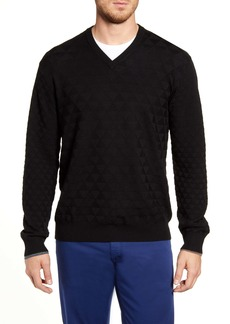 Robert Graham Randie Regular Fit Jacquard V-Neck Sweater