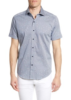 Robert Graham Tailored Fit Hexagon Print Sport Shirt