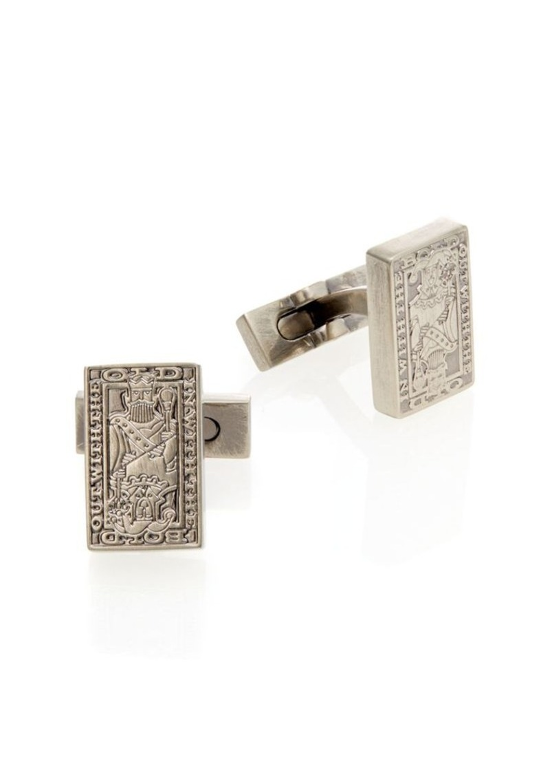 Robert Graham Rhodium-Plated Brass King & Joker Cuff Links
