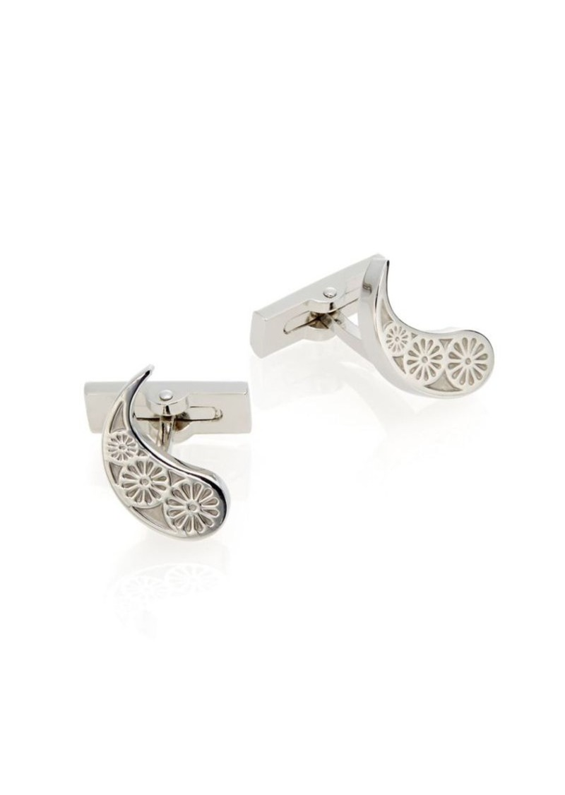 Robert Graham Rhodium-Plated Brass Paisley Cuff Links