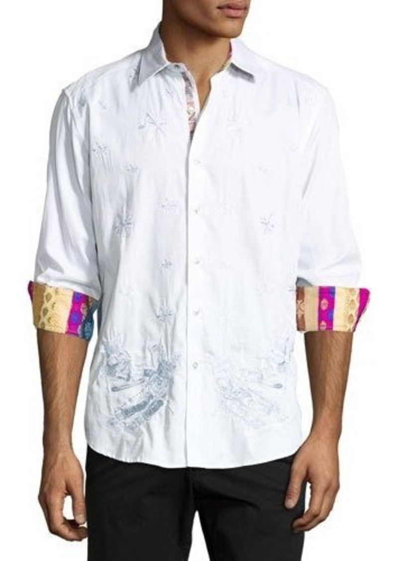 Robert Graham Skiing Bobcats Embroidered Long-Sleeve Sport Shirt