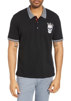 Robert Graham Skull King Embroidered Classic Fit Piqué Polo