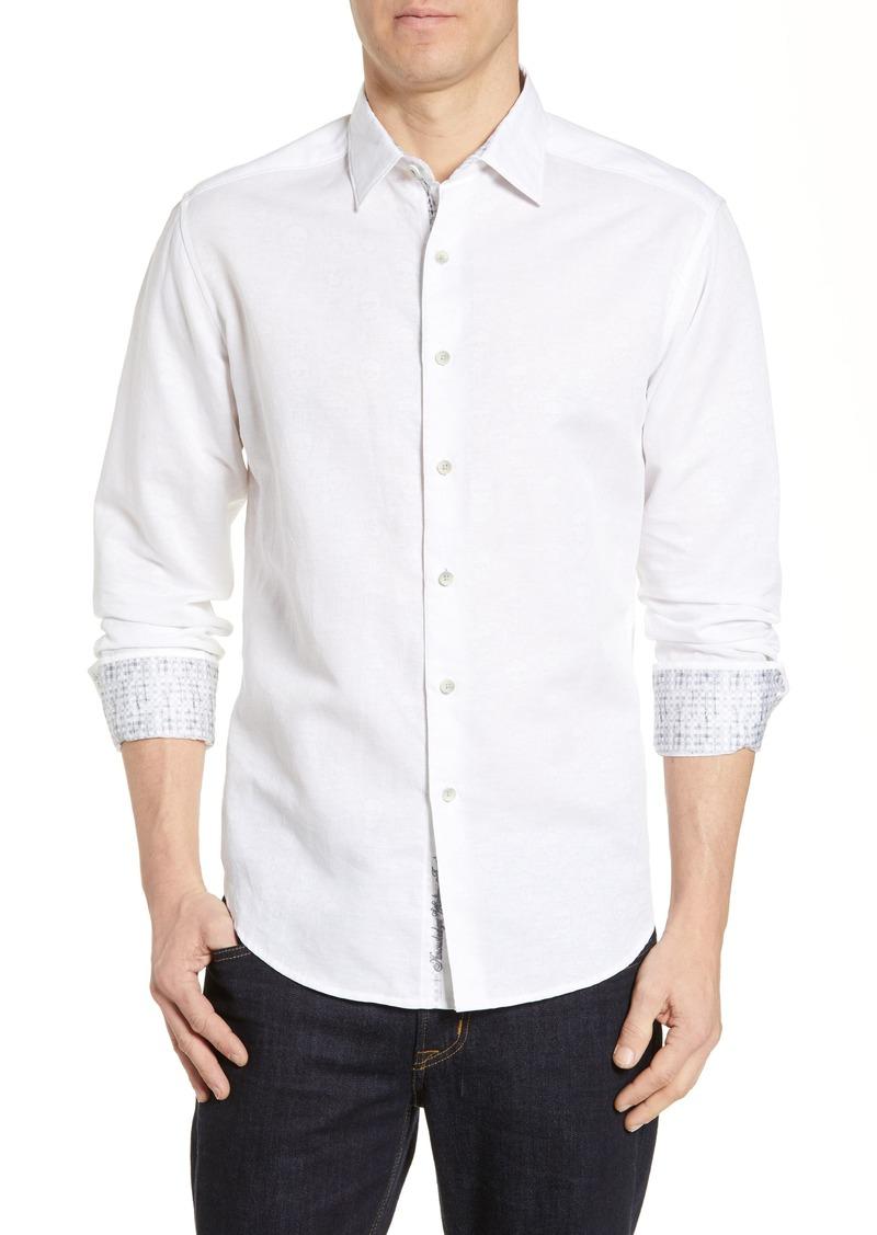 Robert Graham Temple of Skull Classic Fit Linen Blend Shirt