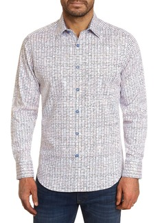 Robert Graham The Bruni Cotton Stretch Abstract Rainbow Grid Classic Fit Button Up Shirt