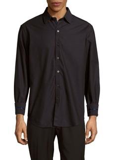 Robert Graham Venetian Masks Embroidered Cotton Button-Down Shirt