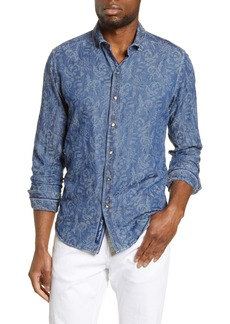 Robert Graham Waynes Rose Jacquard Slim Fit Denim Button-Up Shirt