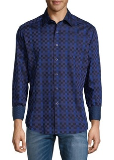 Robert Graham Weave Pattern Cotton Button-Down Pattern