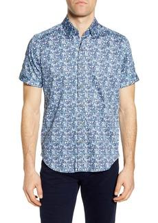 Robert Graham Weaver Trim Fit Medallion Print Short Sleeve Button-Up Shirt