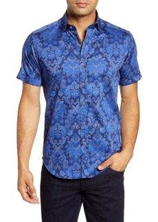 Robert Graham Wrights Regular Fit Paisley Short Sleeve Button-Up Sport Shirt