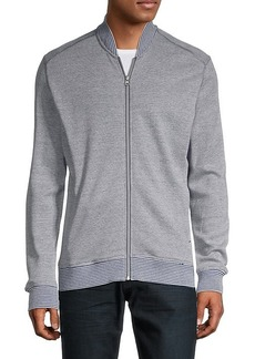 Robert Graham Striped Cotton-Blend Front-Zip Sweatshirt