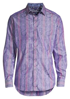 Robert Graham Striped Floral Paisley Sport Shirt
