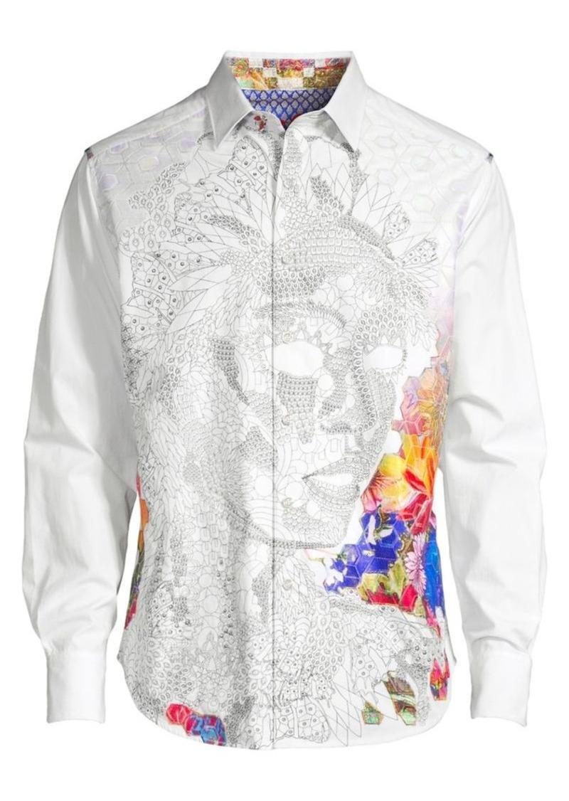 Pandapang Mens Long-Sleeve Button Up Slim Solid Color Mandarin Collar Shirts