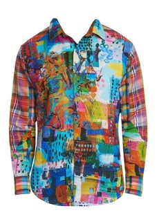 Robert Graham Urban Dreams Abstract Print Linen Shirt