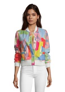 Women's Rosario Suede Paintbrush Print Bomber Jacket Size: XS by Robert Graham