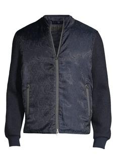 Robert Graham Wuthering Mixed Media Jacquard Paisley Bomber Jacket