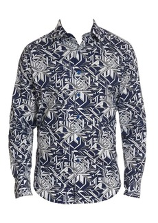 Robert Graham Wyland Abstract Geo Print Shirt