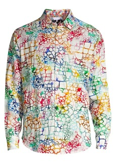 Robert Graham Zimbali Animal-Print Linen Shirt