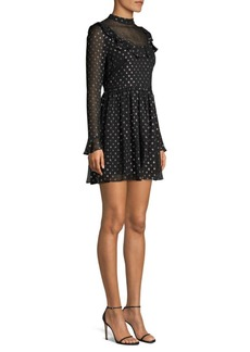 Robert Rodriguez Camille Metallic Polka Dot A-Line Chiffon Dress