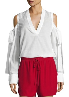 Robert Rodriguez Cold-Shoulder Tie-Sleeve Shirt