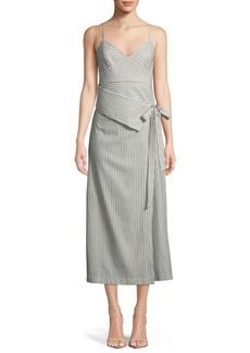 Robert Rodriguez Faux-Wrap Stripe Silk Dress