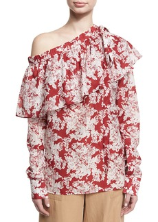 Robert Rodriguez Floral-Print One-Shoulder Ruffle Top