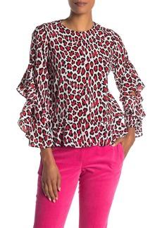 Robert Rodriguez Lena Leopard Print Ruffle Sleeve Blouse