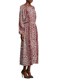 Robert Rodriguez Leopard-Print Silk Midi Dress