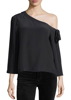 Robert Rodriguez Off-the-Shoulder Long-Sleeve Silk Blouse