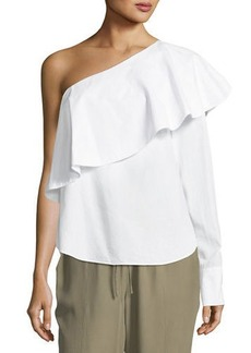 Robert Rodriguez One-Shoulder Ruffle Poplin Top