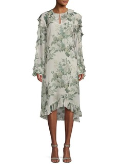 Robert Rodriguez Printed Silk Shift Dress