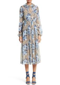 Robert Rodriguez Bouquet Print Silk Dress