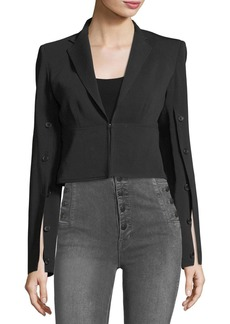Robert Rodriguez Button-Sleeve Crepe Cropped Jacket