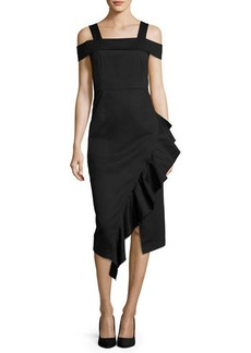 Robert Rodriguez Cold-Shoulder Asymmetric Ruffle Midi Dress