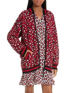 Robert Rodriguez Constance Leopard Print Wool & Cashmere Blend Zip-Up Sweater