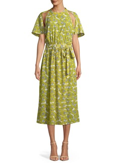 Robert Rodriguez Dania Floral-Print Cutout Belted Midi Dress
