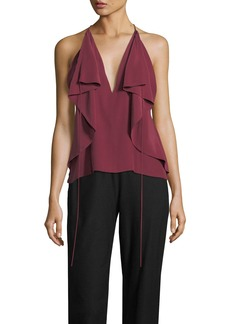 Robert Rodriguez Deep-V Draped Silk Camisole Top