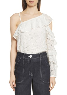 Robert Rodriguez Eyelet Ruffle One-Shoulder Top