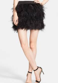 Robert Rodriguez Faux Ostrich Feather Miniskirt