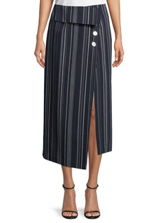 Robert Rodriguez Flap-Front Striped Cotton Midi Skirt