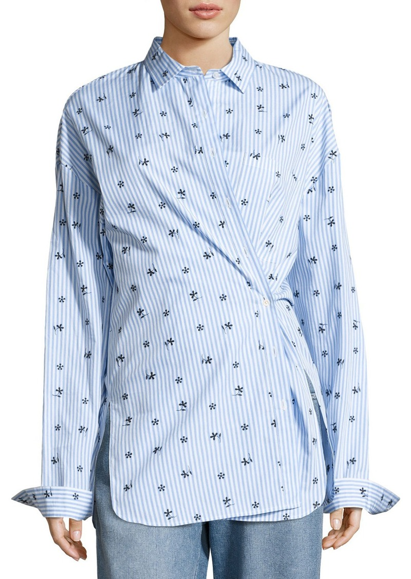 Robert Rodriguez Floral-Emrboidered Striped Shirt