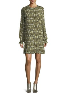 Robert Rodriguez Floral-Print Pleated Chiffon Dress