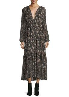 Robert Rodriguez Floral-Print Pleated Chiffon Maxi Dress