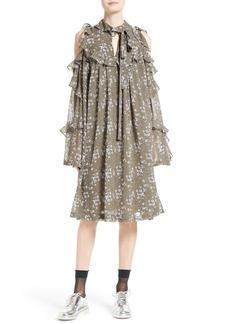 Robert Rodriguez Floral Print Silk Cold Shoulder Dress