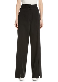 Robert Rodriguez High-Waist Slit-Front Wide-Leg Pants