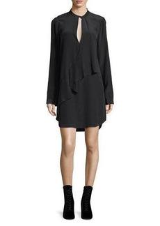 Robert Rodriguez Keyhole Long-Sleeve Silk Drape Dress