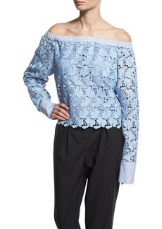 Robert Rodriguez Lace Off-the-Shoulder Long-Sleeve Top